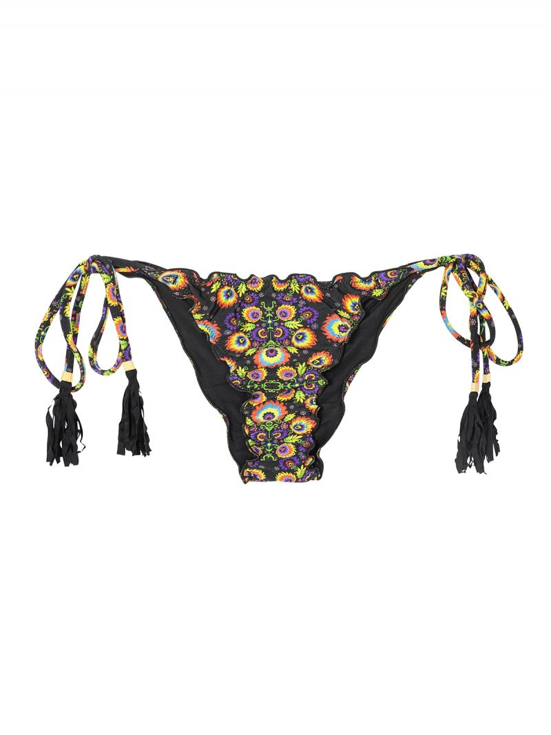 Scrunch bottom floral/black with tassels - CALCINHA NEWFOLK FRUFRU
