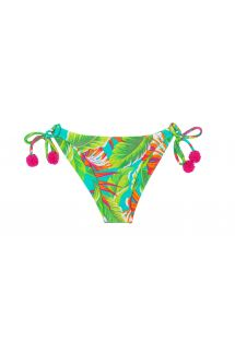 Green ruched tropical-print bikini with pink tassels - CALCINHA PARADISE GREEN DETAIL