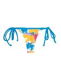 Colourful fun print swimsuit thong - CALCINHA PASSARO AZUL