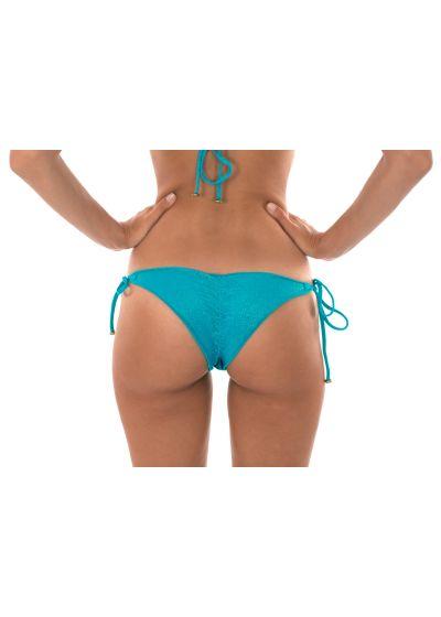 Blue lurex scrunch thong bikini bottoms with scallop trim - CALCINHA RADIANTE AZUL FRUFRU