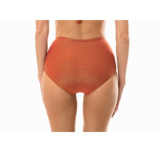 Kupferrote hochtaillierte Lurex-Bikinihose  - CALCINHA RADIANTE CANELA HOT PANT