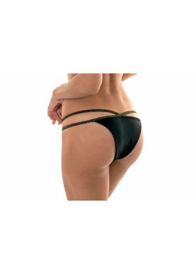 Black strappy Brazilian bikini bottom with Lurex straps - CALCINHA RADIANTE CROPPED NECK