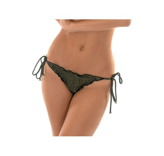 Black lurex string bikini bottom with scalloped edges - CALCINHA RADIANTE PRETO FRUFRU