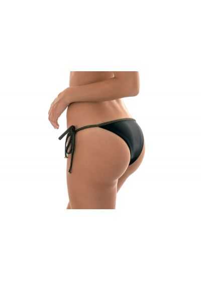 Black Brazilian bikini bottom with lurex ties - CALCINHA RADIANTE PRETO LACINHO
