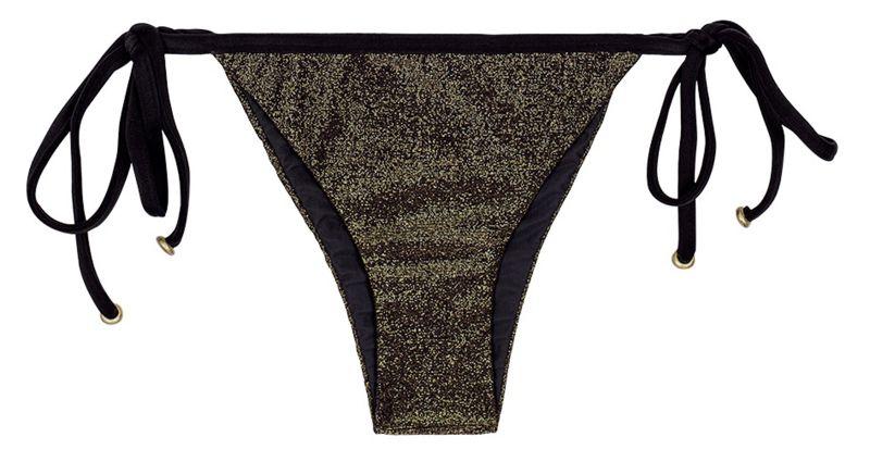Shimmery black lurex brazilian bikini bottom with black ties - CALCINHA RADIANTE PRETO TRI
