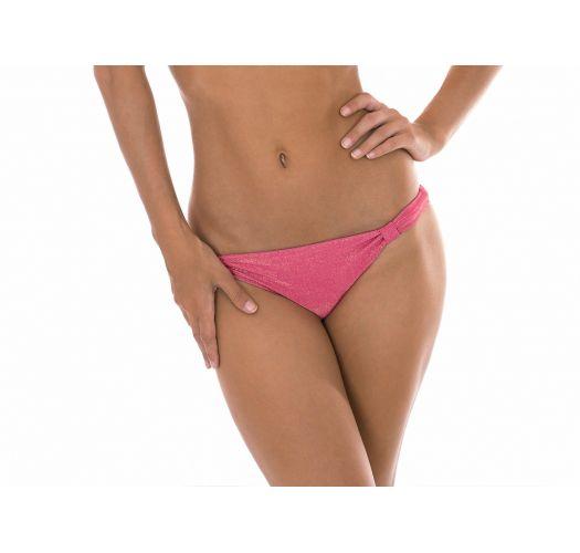 Brasiliansk underdel, fast rosa lurex og stoffring - CALCINHA RADIANTE ROSA CORTINAO