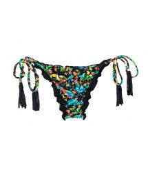 Black scrunch bikini bottom with multicoloured flowers - CALCINHA REALITY FLOWER FRUFRU