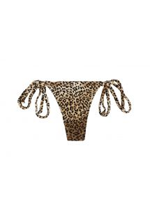 Brown animal print thong bikini bottom - CALCINHA SAGATIBA MICRO