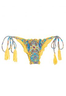 Scrunch bikini bottoms with print and yellow tassels - CALCINHA SARI FRUFRU