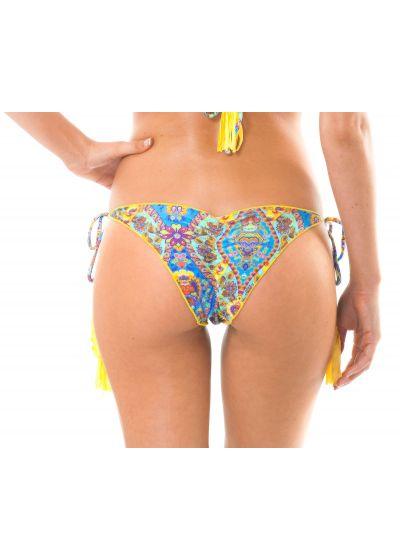 Rynkad bikini med tryck och gula pompoms - CALCINHA SARI FRUFRU