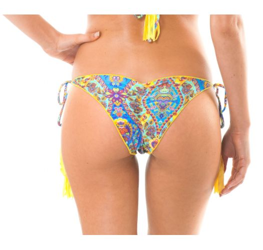 Scrunch bikini bottoms with print and yellow tassels - CALCINHA SARI FRUFRU