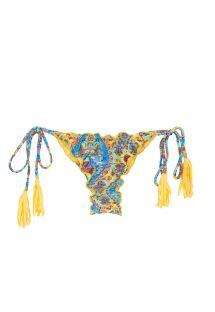 Scrunch bikini bottoms with yellow tassels - CALCINHA SARI FRUFRU FIO