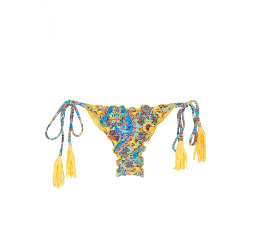 Scrunch bikini bottoms with yellow tassels - CALCINHA SARI FRUFRU FIO