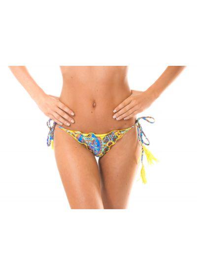 Rynkad stirng bikini med gula pompoms - CALCINHA SARI FRUFRU FIO