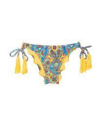 Scrunch bikini bottoms with print and yellow tassels - CALCINHA SARI OFFSHOULDER POMPOM
