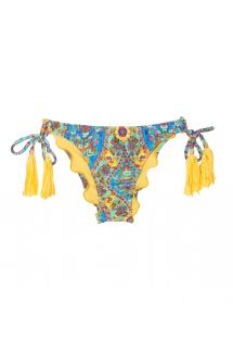 Scrunch bikini bottoms with print and yellow tassels - CALCINHA SARI OFFSHOULDER POMPOM