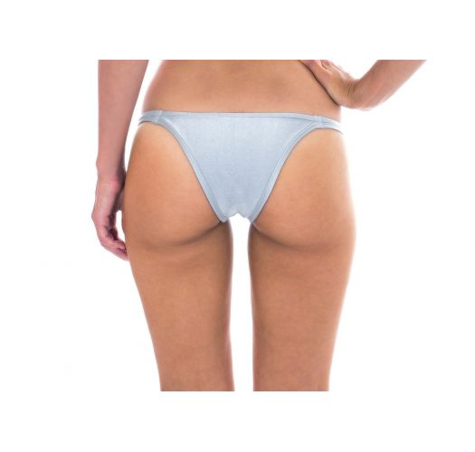 Silvery Brazilian fixed bikini bottoms with double side straps - CALCINHA SILVER DUO