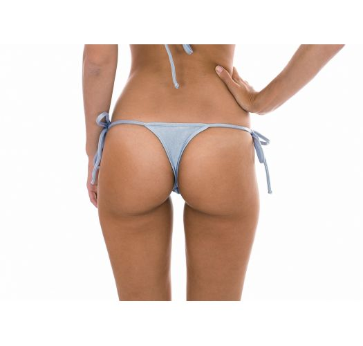 Silver G-string bottoms which can be tied - CALCINHA SILVER TRI MICRO