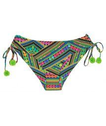Geometric print thong bikini bottoms with green pom-poms - CALCINHA TRICOTART BABADO