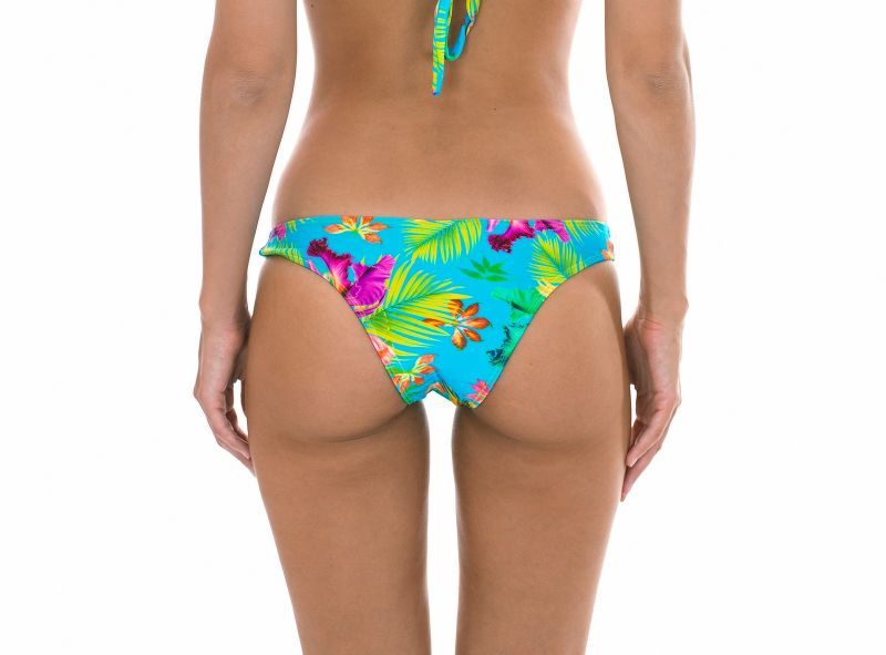 Tropical floral non-adjustable tanga bottoms - CALCINHA TROPICAL BLUE CORTINAO