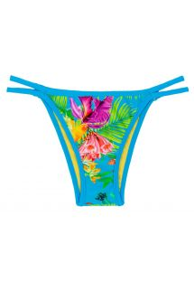 Brazilian bikini bottoms in tropical flower print with double strap sides - CALCINHA TROPICAL BLUE DUO
