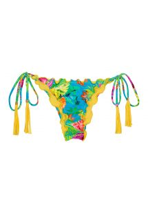 Tropical scrunch bikini bottoms with fringed yellow pompons - CALCINHA TROPICAL BLUE FRUFRU
