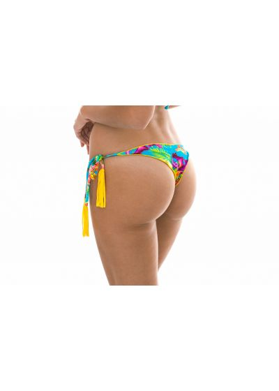 Tropical thong with yellow tassels - CALCINHA TROPICAL BLUE FRUFRU FIO