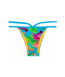 Strappy Brazilian bikini bottoms in a multicoloured tropical print - CALCINHA TROPICAL BLUE NECK