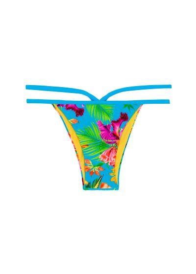 Tropiskt mönstrad, flerfärgad brasiliansk underdel med band - CALCINHA TROPICAL BLUE NECK