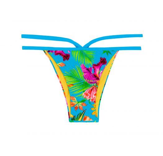 Strappy Brazilian bikini bottoms in a multicoloured tropical print - CALCINHA TROPICAL BLUE NECK