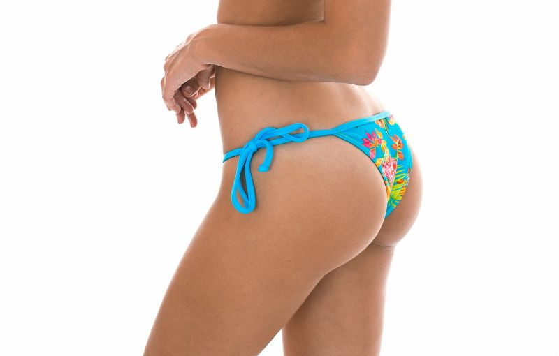 Brazilian bikini bottoms in tropical flower print with blue straps - CALCINHA TROPICAL BLUE TRIANGULO