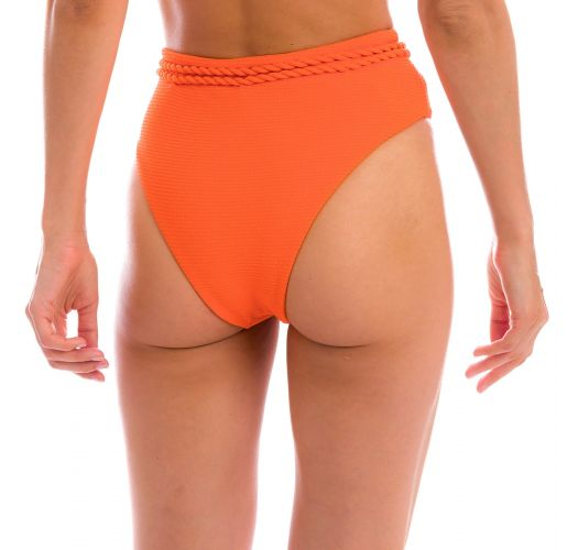 Getextureerde oranje bikinibroek met hoge taille en gevlochten tailleband - BOTTOM ST-TROPEZ-TANGERINA HOTPANT-HIGH