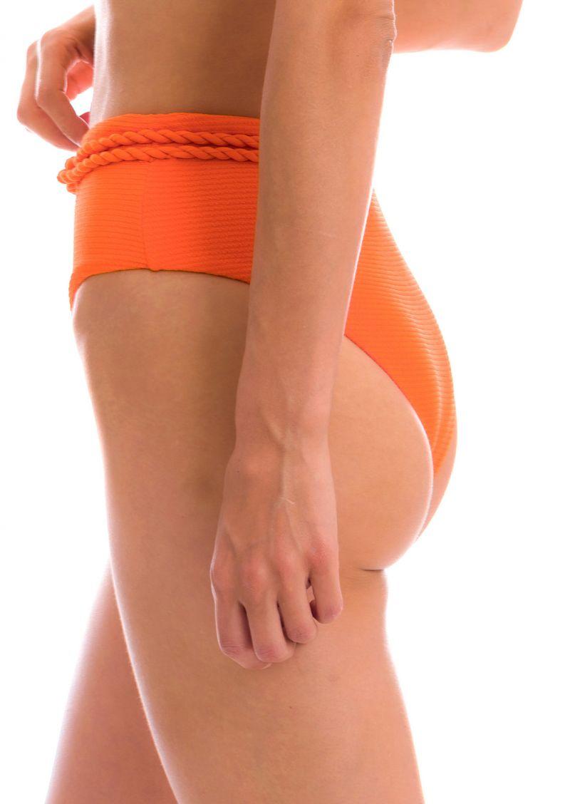 Orange textured high waist bikini bottom with twisted rope - BOTTOM ST-TROPEZ-TANGERINA HOTPANT-HIGH