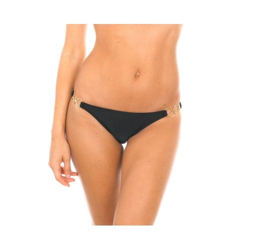 Black tanga swimsuit bottom with rings - PRETO TRIO