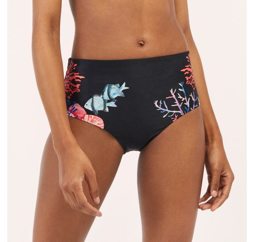 High waisted seabed patterned bikini bottom - BOTTOM AURORA EPOQUE MARINHO