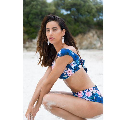 BBS X SAHA - reversible hochtaillierte Bikini-Unterteile / Streifen - BOTTOM AURORA FLORAL NIGHT