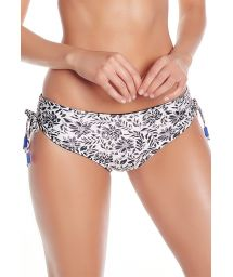 Reversible floral black bottom with ruched sides - BOTTOM COROZO
