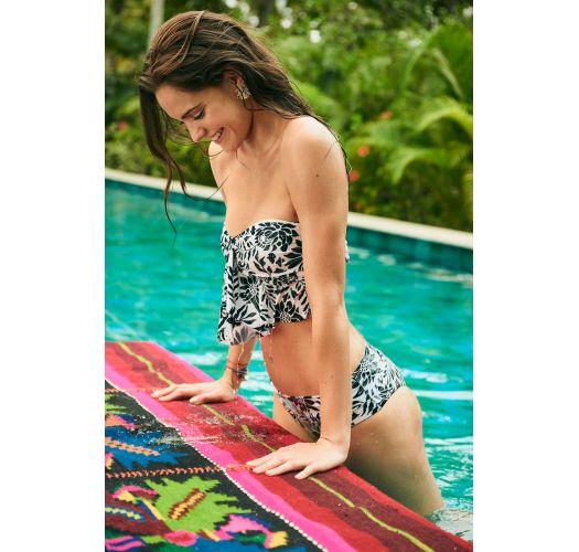 Schwarz/weißgeblümte Bikinihose - BOTTOM MAMBO RIO WATERLILY