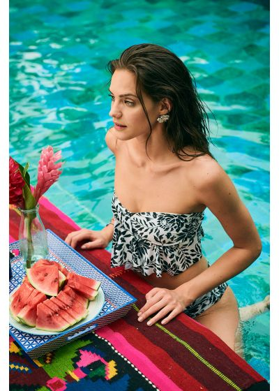 Black and white floral bikini bottom - BOTTOM MAMBO RIO WATERLILY