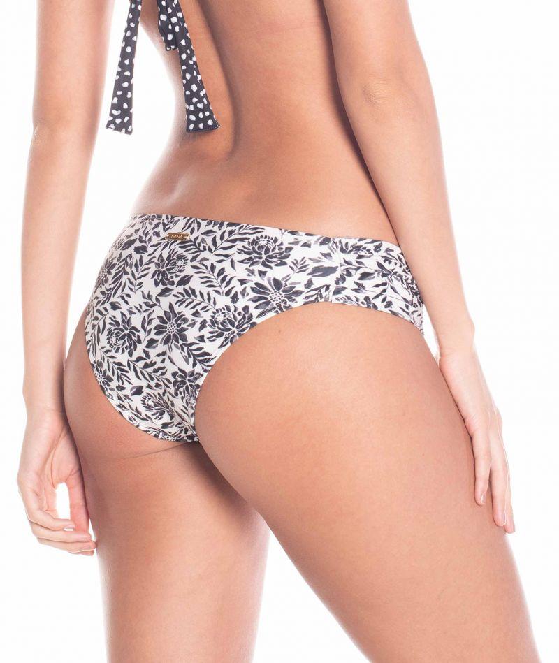 Floral black & white fixed bikini bottom - BOTTOM PETALA NEGRA