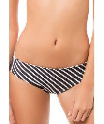 Reversible two-tone stripes/floral print bikini bottoms - CALCINHA AURORA BOTANICAL