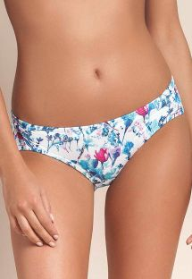 Blue floral fixed bikini bottom - CALCINHA BREATH RUFFLES
