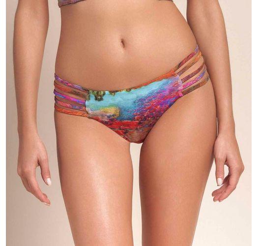 Multi-coloured print strappy bikini bottom - CALCINHA DELIGHT COLOUR
