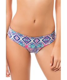 Reversible navy blue/ethnic print bikini bottoms - CALCINHA MACONDO AGUA