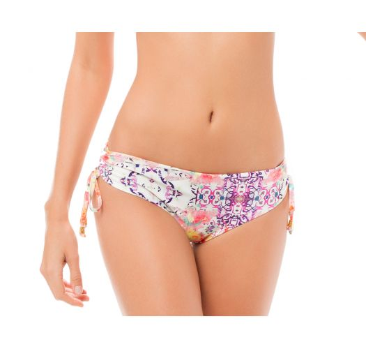 Lace-up side bikini bottoms in a multicoloured ethnic print - CALCINHA MACONDO BOHEME