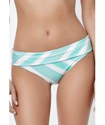 Plain green reversible large bottoms with stripes - CALCINHA MARINHO MENTA