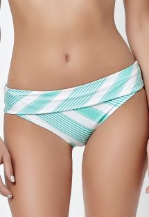 Plain green reversible large bottoms with stripes - CALCINHA MARINHO MENTA