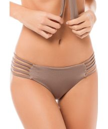 Taupe satin finish bikini bottoms with strappy sides - CALCINHA TAYRONA STARDUST