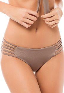 Плавки купальника серо-коричневого цвета с атласным блеском с множеством декоративным лямок по бокам - CALCINHA TAYRONA STARDUST