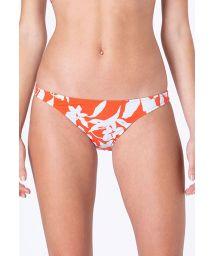 Feste Brazilian Bikinihose orangegrundig mit weißen Blumen - BOTTOM ARCO CARAIVA LARANJA